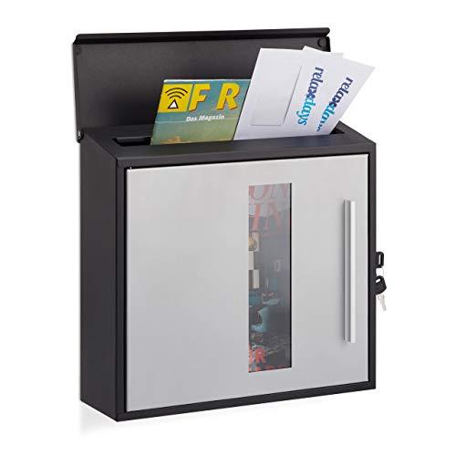 Relaxdays brievenbus met venster, afsluitbaar, beschermklep, design brievenbus, h x b x d: 33 x 35 x 12,5 cm, zwart-zilver, standaard