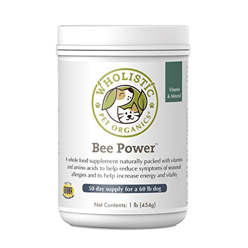 Wholistic Pet Organics Bee Powder: Bee Power Pure Organic Bee Pollen for Dogs - Dog Itch Relief Allergy Supplement - Natural Immune Booster, Anti Itch Skin Treatment and Health Support for Dogs - 1 Lb