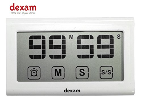 Dexam touchscreen-stopwatch en klok met clip, 8 x 4,8 x 1,6 cm, zwart