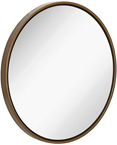 Clean Large Modern 32' Copper Circle Frame Wall Mirror | Contemporary Premium Silver Backed Floating Round Glass Panel | Vanity, Bedroom, or Bathroom | Hanging