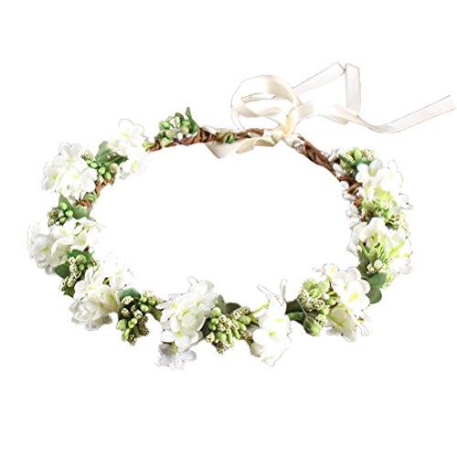 OULII Damen Blumenstirnband Blumenkrone Blumenkranz für Muttertag Hochzeit Party Strand (Weiß)