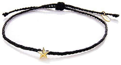 voso0016-1 (Vocca) アンクレット メンズ 星 スター ワックスコード ゴールド 足周り約20〜23cm前後 (M-1)Black