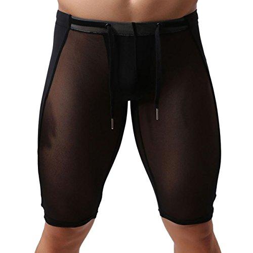 Brave Person - sous-vêtements de Sport Homme Collant Stretch Respirant Transparent Élastique Cordon de Serrage Genou Pantalon Court Gym Course Yoga Couleur Pure Noir Taille XL