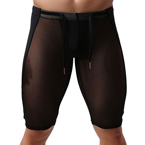 Brave Person - sous-vêtements de Sport Homme Collant Stretch Respirant Transparent Élastique Cordon de Serrage Genou Pantalon Court Gym Course Yoga Couleur Pure Noir Taille XL