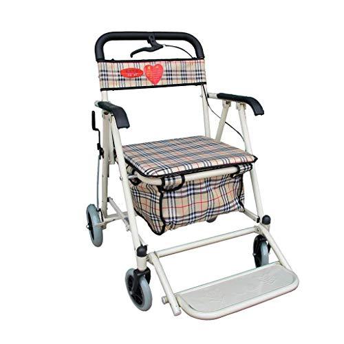SXRNN Faltbarer Seniorenwagen Wagen und Sitzwandler mit Druckbremse