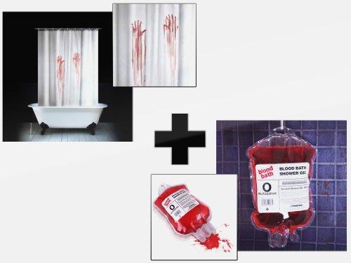 Blutbad blutiger Duschvorhang und 400 ml Blut Duschgel bloodbath Sparangebot