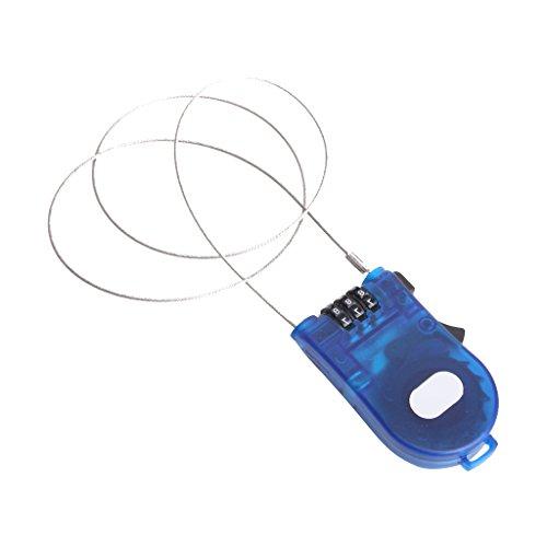 Candado de combinación de 3 cifras para equipaje y bicicletas, con cable retráctil –Color azul