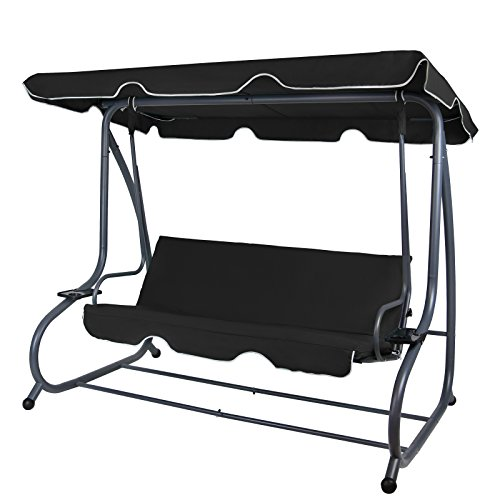 Montafox 4-Sitzer Hollywoodschaukel Gartenschaukel klappbar mit Bettfunktion mit Sonnendach und Liegefunktion für 4 Personen, Farbe:Titanschwarz
