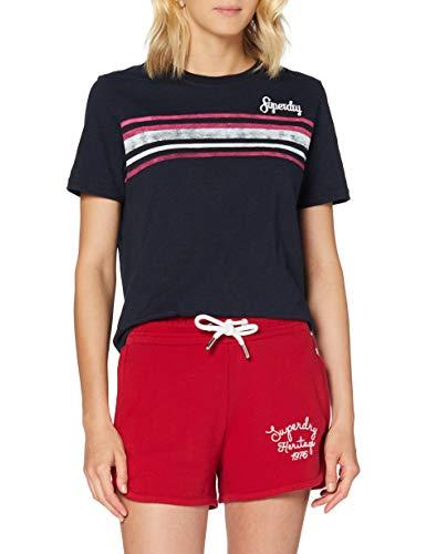 Superdry Retro Stripe tee Camiseta, Azul (Deep Navy Jke), XS (Talla del Fabricante:8) para Mujer