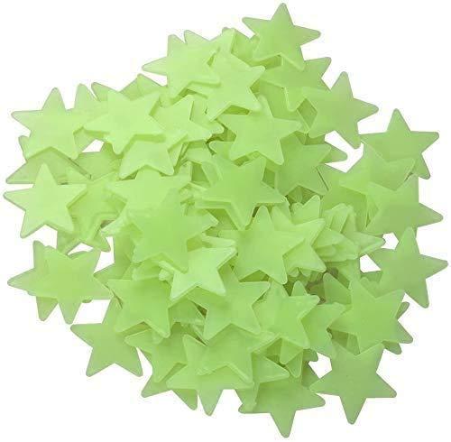 RabbitStorm 100 piezas de Pegatinas de pared Fluorescentes con forma de Estrellas, Estrellas Luminosas en Techos o paredes Oscuras, Adhesivos de pared de Plástico 3D, Decoración de Dormitorios Infantiles, Decoración del Hogar. (Verde).