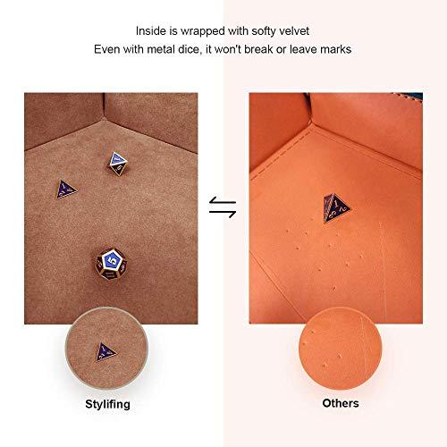 Amyove Würfelschale Einfarbig sechseckige Würfelschale Falten pu Aufbewahrungsbox für Tischspiele Purple 30.8 * 23 * 5cm