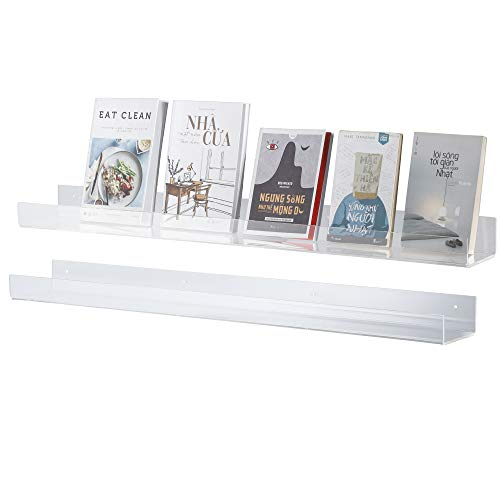 """CRIZTA 36"""" x 4.7"""" Acrylic Floating Bookshelf (2 Pcs), 5mm Thick Crystal Clear Wall Ledge Shelf Wall Mounted Shelves for Books, Pictures, Phones, Small Toy Storage (2)"""