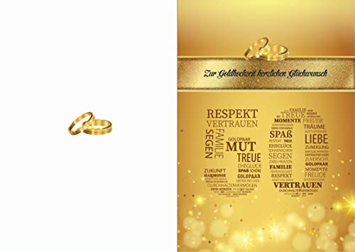 Elegante Glückwunschkarte Goldhochzeit goldene Hochzeit 50 Jahre Hochzeit Jubiläum Karte (Gold)