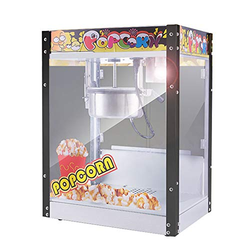 Peaceip Intelligente elektrische popcornmachine, commerciële popcornfabrikant met ingebouwde verlichting en slaaptank van roestvrij staal, popcornmachine met grote capaciteit