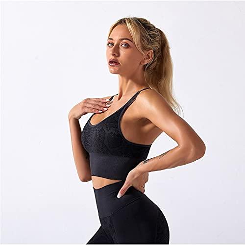 YLBHD Mujeres Yoga Set Seamless Fitness Yoga Traje Serpentine Impresión Mujeres Sujetador Deportivo Cintura Alta Gimnasio Polainas Entrenamiento Ropa Deporte Conjunto