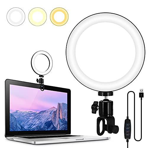 """STIG FAWN 6"""" Video Conference Ring Light, Clip On Light for Monitor,for Recording, Distance Learning,Zoom Call Meetings, Self Broadcasting, Live Streaming, Computer Laptop Video Conferencing Calls"""