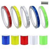 GZjiyu, 10 rotoli di nastro riflettente, autoadesivo, in PVC, catarifrangente, per auto, moto, biciclette, segnalazione stradale, protezione notturna (2 dimensioni: 1 cm x 8 m, 5 cm x 1 m)