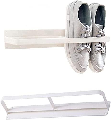 ZAIHW Zapatero Organizador Estante de Almacenamiento de Pared montado Soporte para Zapatos Mantiene los Zapatos Fuera del Piso Taburete para Cambiar Zapatos (Color: Blanco)