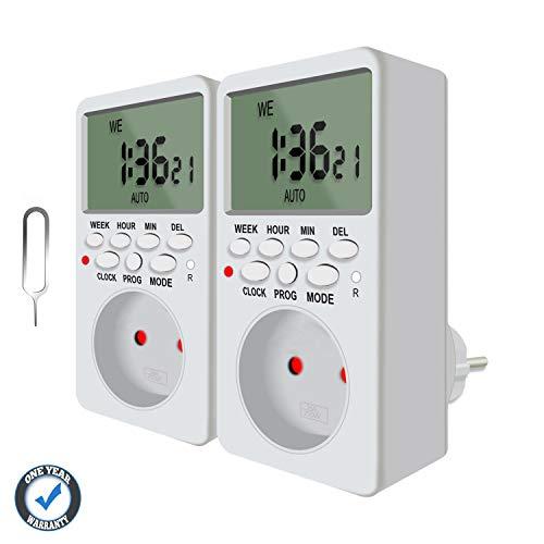 2x Digitale Zeitschaltuhr Steckdose mit 20 Programmierbare Schaltprogramme, einbruchsicheren Zufallsschaltung und Countdown Funktion QooTec EUS006