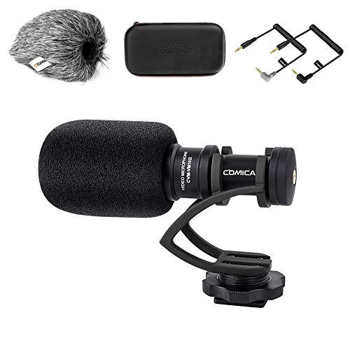 Kamera Mikrofon, Comica CVM-VM10II Richtmikrofon Cardioid Shotgun Video Camcorder Mikrofon für Canon, Nikon, Fuji, Sony, Panasonic, Olympus DSLR-Kameras, Smartphones (mit Wind Muff) schwarz