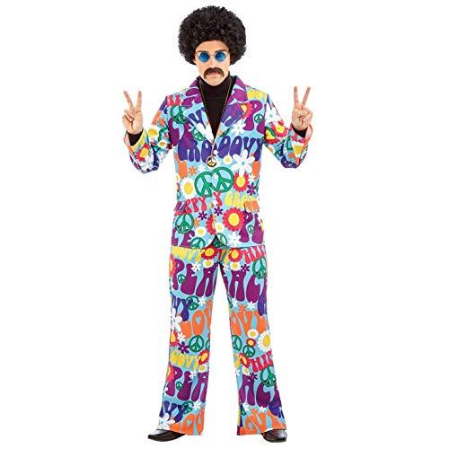 Fun Shack Lila Hippie Kostüm 70er Jahre Verkleidung für Herren - L