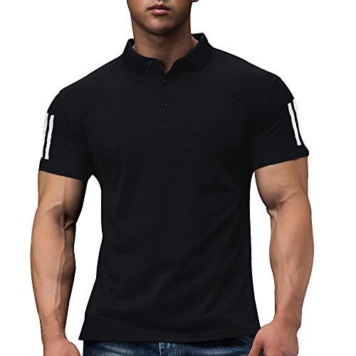 Hombres Polo De Golf De Manga Corta para Correr Casual De Secado Rápido, Camiseta De Entrenamiento Atlético Color Black Size L