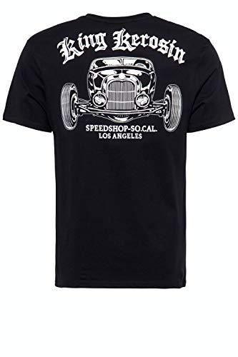 King Kerosin Speedshop So.Cal. LA T-Shirt, Nero, S Uomo