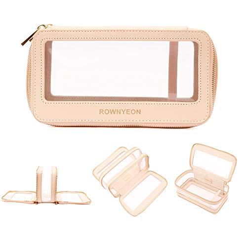 ROWNYEON Travel Makeup Bag Organizer Clear Cosmetic Bag Multipurpose Travel Makeup Train Case Portable
