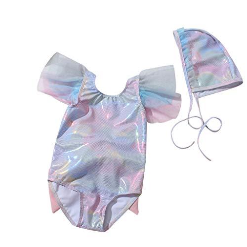Niñas sin Mangas Mangas voladoras Escamas de Pescado con Lentejuelas Halter Bow Traje de baño de una Pieza Traje de baño Sombrero