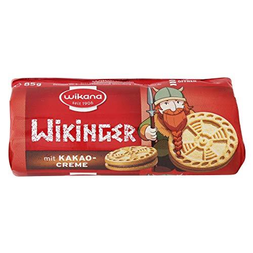 3er Pack Wikana Wikinger Minidoppelkekse Kakaocreme (3 x 85 g) Pausensnack klein & handlich für unterwegs