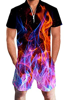 Jubestar Men's Romper Jumpsuit 3D Pattern One Piece Outfits Short Sleeve Zipper Overall with Pocket
