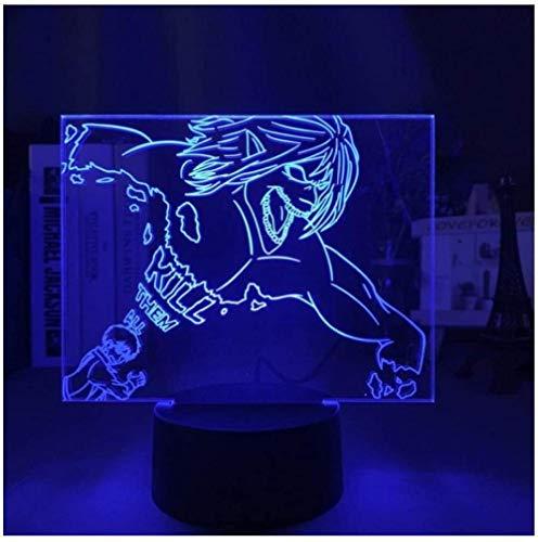 Luz de noche ilusión 3D luz de humor para niños control remoto de 7 colores y luz de regalo de vacaciones con botón táctil - Monster boy