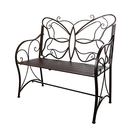 Sedia doppia in ferro battuto Panchina da giardino Parco in metallo per esterno, Sedia con schienale a farfalla al coperto, Home Balcone Portico Terrazza Sgabello Seduta per 1-2 persone