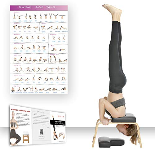 Restiral Life Yoga Kopfstandhocker, Yoga Kopfstandstuhl für Zuhause und Fitnessstudio, Holz und PU Polster, Ermüdung Entlasten und Körper Bauen (schwarz)