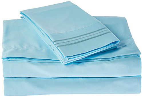 Sweet Home Collection Supreme 1800 Series 3PC Bed Sheet Set Egyptian Quality Deep Pocket - Twin, Light Blue