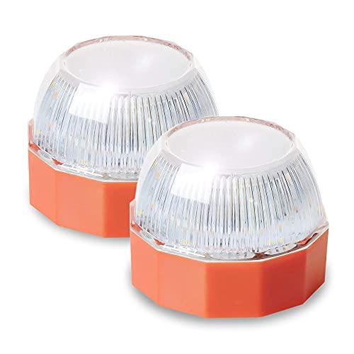 Pack de 2 Luz de Emergencia V16 Homologada · Help Flash Homologada DGT · Luz Emergencia Imantada para Coches y Motocicletas · Resistente a la Lluvia y la Nieve · Incluye Pila y Destornillador