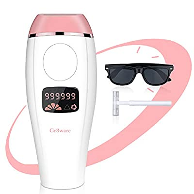 Gr8ware IPL Hair Removal Device, Permanent Hair Removal System 999,999 Flashes Woman and Man, Painless Hair Removal for Home Use, Body/Up Lip/Bikini Line/Underarm