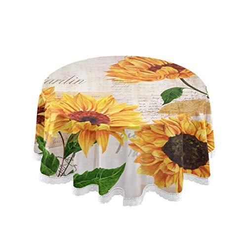 SunsetTrip - Mantel redondo para mesa de verano, diseño de hojas de girasol, borde de encaje