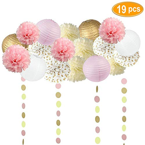 Sopeace 19PCS Tissue Craft Decoration Kit | Pretty Party Supplies: Pom Flowers, Garland &Lanterns | Pastel Pink, Gold Polka Dot & Ivory | Perfect poms for a baby shower or girls first 1st birthday.