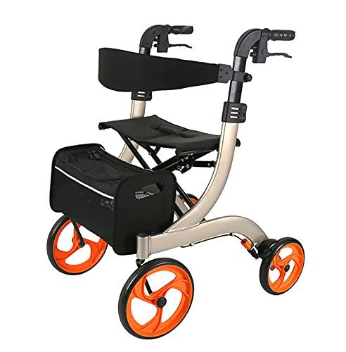 """Andador con andador para personas mayores, andador con andador con cable de freno incorporado, con ruedas grandes de 8 """", asiento y respaldo, ayuda para caminar con movilidad para adultos mayores"""