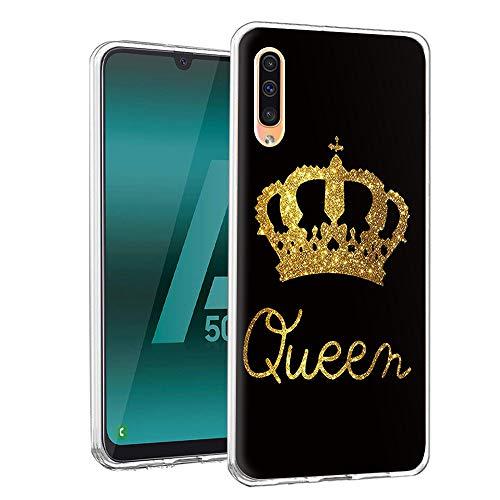 Yoedge Funda Samsung Galaxy A50, Ultra Slim Cárcasa Silicona Transparente con Dibujos Animados Diseño Patrón 360 Bumper Case Cover para Samsung Galaxy A30S Smartphone (Queen, Negro-Oro)