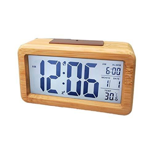 AUA Sveglia da Comodino LED, Sveglia digitale, orologio da tavolo con snooze, data, temperatura, 12/24 ore, cassa in legno massiccio