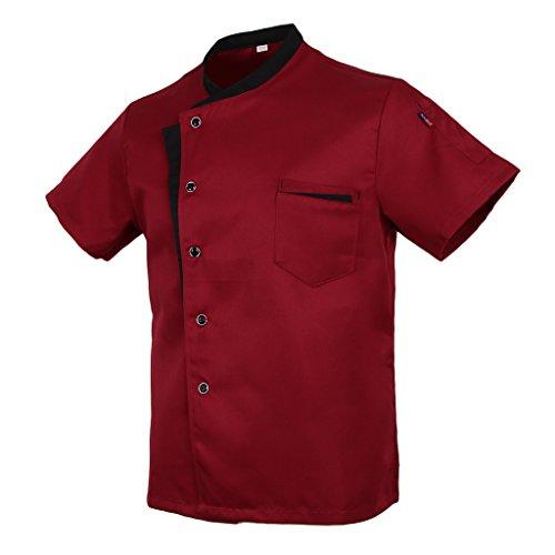 Baoblaze Cuoco Camicia Manica Corta Da Cucina per Uomo Donna - Rosso, XL