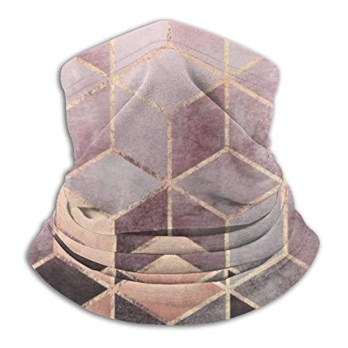 XIUZHEN Pink and Grey Gradient Cubes Unisex Neck Warmer Gaiter Balaclava Ski Mask Cold Weather Face Mask Winter Hats Headwear for Men Women