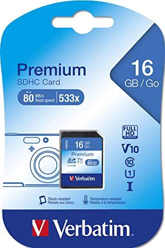 Verbatim Premium U1 SDHC - 16 GB Speicherkarte, Class 10 Karte, Datenübertragsrate von mindestens 45 Mbit/s, schreibschutz - schwarz