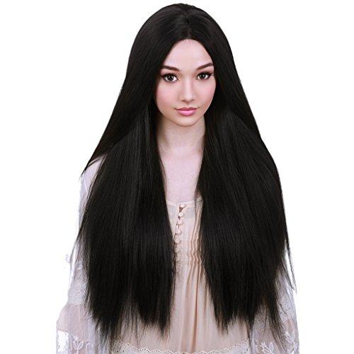 SM SunniMix Perruque Longue Droite Naturelle Complète De Femmes Perruques Noires Mesdames Perruque Synthétique Cosplay Perruque De Cheveux Synthétiques