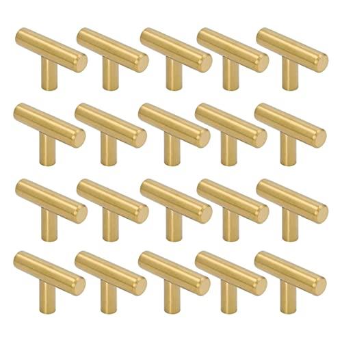 Manija de la puerta Botones de gabinete de un solo agujero largo de 50 mm y tirones Puertas Armas de armarios Dormitorios Muebles de dormitorio Brushed, 20 Pack, Oro Manija de la puerta exterior