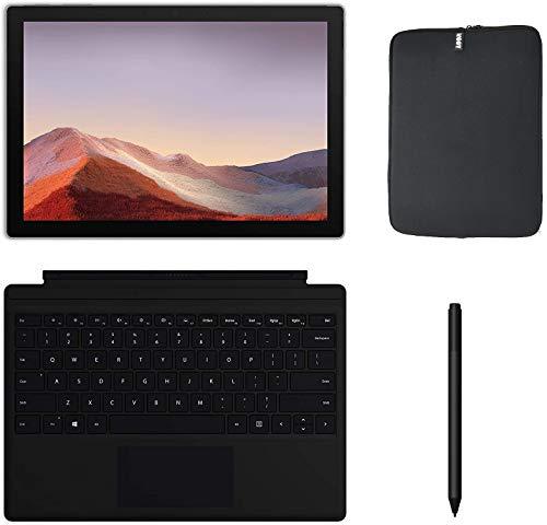 Newest Microsoft Surface Pro 7 12.3 Inch Touchscreen Tablet PC Bundle w/Type Cover, Pen & WOOV Sleeve, Intel 10th Gen Core i5, 8GB RAM, 128GB SSD, WiFi, Windows 10, Platinum (Latest Model)