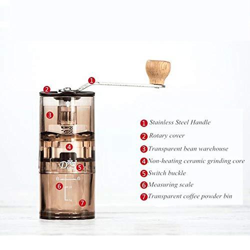 LSQ Manuelle Espresso & Kaffeemühle, abwaschbar manuelle Kaffeemühle und Aufbewahrungstasche Portable Acryl Handschleifer Kaffee Mokka Bohnen Chili Schleifer