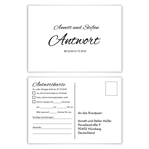 20 x Antwortkarte Hochzeit Hochzeitskarten Antwort Postkarte - Black and White Schlicht